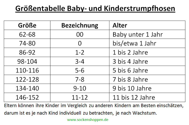 größentabelle babystrumpfhosen kinderstrumpfhosen