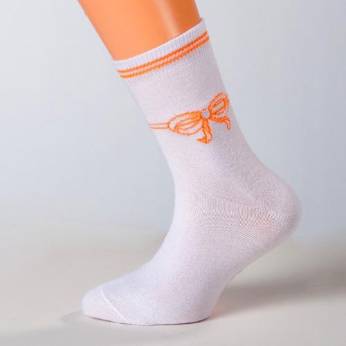 kindersocken mädchen motiv schleife weiß und orange