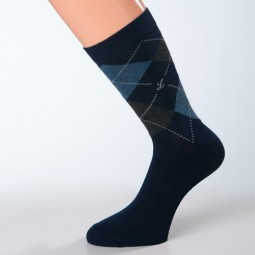 Socken dunkelblau Muster grau Größe 45, 46, 47