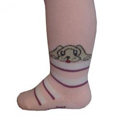Kinderstrumpfhose Lustiger Hund rosa Größe 86-92
